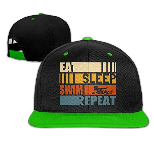 Eat Sleep Swim Repeat Men's Adjustable Snapback Hip Hop Outdoor Sport Trucker Cap Hats Flat Brim KellyGreen Baseball Cap Men Women by HJK7HK