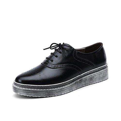 Viento de otoño de zapatos de mujer de Inglaterra/Zapatos planos de suela gruesa/Zapatos de las señoras del A