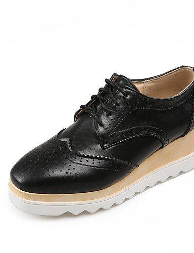 ZQ 2016 Zapatos de mujer - Tacón Cuña - Punta Redonda / Punta Cerrada - Oxfords - Oficina y Trabajo / Vestido / Casual - Semicuero -Negro / , brown-us6.5-7 / eu37 / uk4.5-5 / cn37 , brown-us6.5-7 / eu white-us7.5 / eu38 / uk5.5 / cn38
