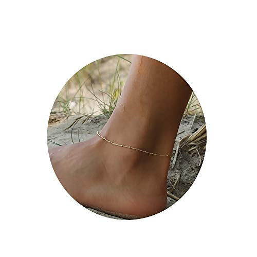 Gold Beads Anklet,Women 14K Gold Plated Dainty Cute Summer Ankle Bracelet Boho Beach Foot Chain