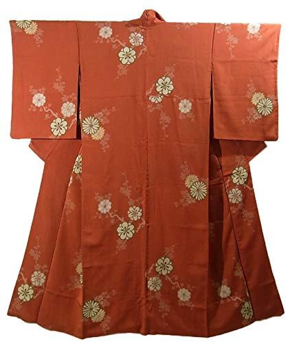 進化スクラップ件名アンティーク 着物 お召 正絹 菊と梅の花模様 裄64cm 身丈150cm