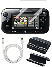 PEGLY Usb Charger Kit with Stand for Nintendo Wii U Gamepad 5-in-1 Bundle Gamepad Cradle and Usb Charger, 10'ft