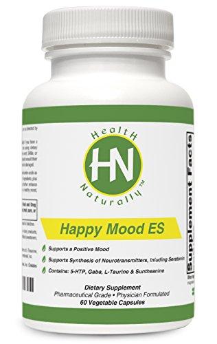 Bonne humeur ES - 60 gélules végétales | Contient : Magnésium, vitamine C, GABA, 5-HTP, L-Taurine & L-théanine (Suntheanine ®) | Qualité pharmaceutique