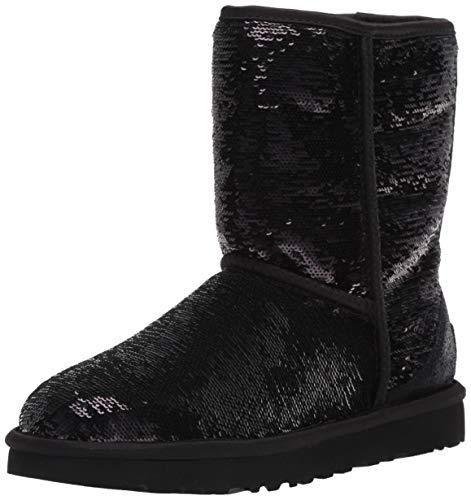 UGG Women's Classic Short Cosmos Sequin Fashion Boot, Black/Gunmetal, 6 M US