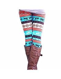 QIYUN.Z Christmas Stretchy Skinny Legging Winter Warm Deer Geometric Print Pants
