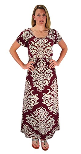 Peach Couture Damask Print Cap Sleeves Smocked Waist Plus Sized Maxi Dresses Scoop Neck Burgundy 2X