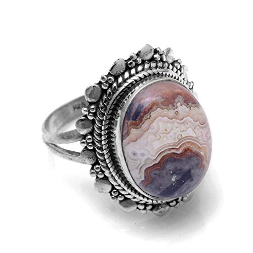 (Silver Palace Sterling Silver Natural Crazy Lace Agate Rings for Womens and Girls)