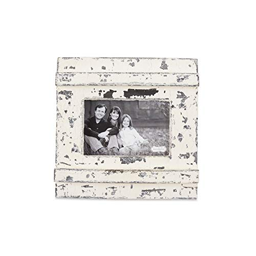Mud Pie Distressed White Chipped Wood 4