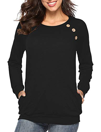 - Womens Button Long Sleeve Tops Casual Blouses T-Shirt Round Neck Pockets Top Black M