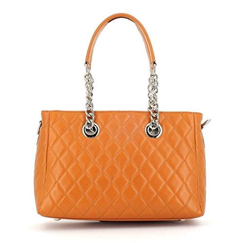 Laura Moretti - Bolso de cuero suave y gamuza/bolso estilo años 50 con cierre inspirado en clip de papel Leather