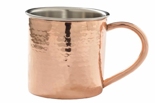 Moscow Mule Copper Mug - Copper Plated Double Wall Hammered Mug with Stainless Steel (Copper Plated Steel)