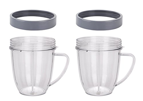 2 Preferred Parts 18 oz. Replacement for Nutribullet Cups with Comfort Handel and Screw off Lip Ring (Pack of 2)