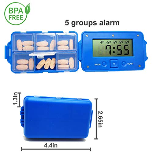 Pill Case Alarm - SHAREWIN Pill Organizer ,Pill Dispenser Travel Supplement Holder, Daily Pill Reminder Easy Set Never Forget Daily Tablet/Vitamine Idea For Father's Day Gifts