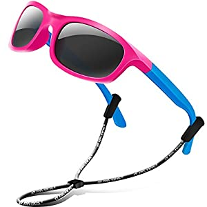 RIVBOS Rubber Kids Polarized Sunglasses With Strap Glasses for Boys Girls Baby and Children Age 3-10 RBK025 (RBK025-3 Rose Red)