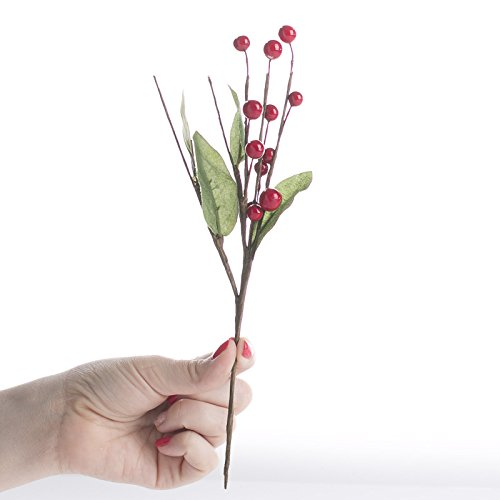 Factory Direct Craft Group of 12 Artificial Rich Red Picks for Holiday Decor and Floral Arranging