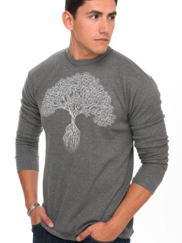 "Super Buddha Men's ""Bodhi Om Tree"" Soft Blend Made in USA Long Sleeve Thermal, Heather Charcoal, Medium"