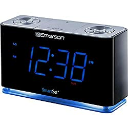 Emerson SmartSet Alarm Clock Radio with Bluetooth Speaker, Charging Station/Phone Chargers with USB Port for iPhone/iPad/iPod/Android and Tablets (Renewed)