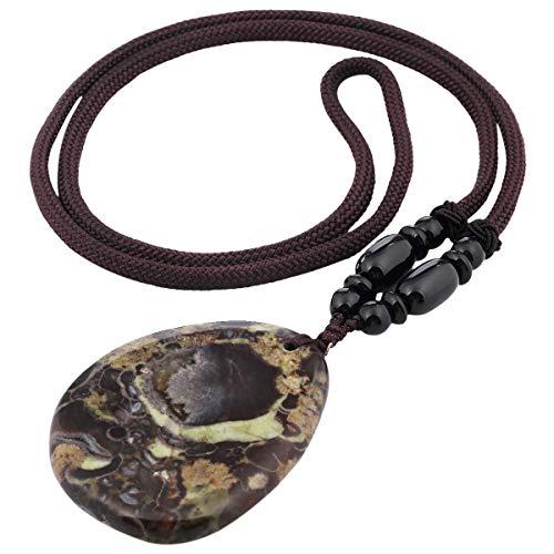 SUNYIK Teardrop CrazyLaceAgate Pendant Necklaces for Women, Healing Crystal Necklace 14