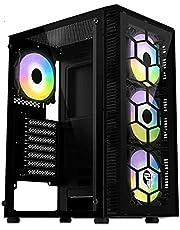 كيسة كمبيوتر ميد تاور CG73 للالعاب بتصميم سداسي مزودة بـ 4 مراوح بلون قوس قزح بنظام الفضاء اللوني ار جي بي من فانتيك- زجاج مقوى - ايه تي اكس، اي تي اكس، مايكرو ايه تي اكس