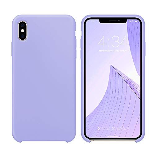 Purple Phone Case - iPhone X Case, iPhone X Silicone Case, Xperg Slim Liquid Silicone Gel Rubber Shockproof Case Soft Microfiber Cloth Lining Cushion Compatible with Apple iPhone X (Clove Purple)