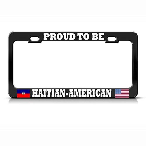 Moon Proud American Haitian Black License Plate Frame Haiti USA Flags Pride Auto Tag Perfect for Men Women Car garadge Decor