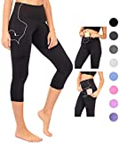 DEAR SPARKLE High Waist Yoga Capri with 3 Pockets Workout Tummy Control Running Capris Plus (S2)