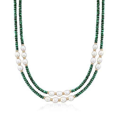 Ross-Simons 4-5mm Emerald Bead and 7-8mm Cultured Pearl Two-Strand Necklace With 14kt Yellow Gold