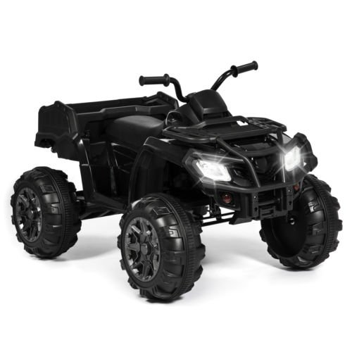 4 Wheeler Ride 12V Extra-Large Kids ATV Quad On MP3 Lights Storage...