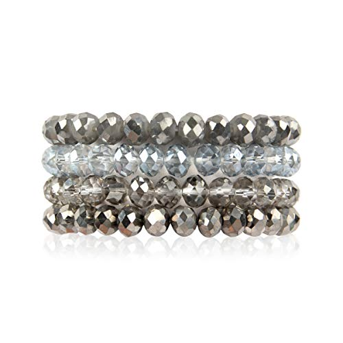 RIAH FASHION Multilayer Beaded Stretch Stacking Bracelets - Multi Strand Colorful Sparkly Beads Statement Wrap Slip-on Cuff Bangles (Sparkly Mix - Hematite - Bracelet Gemstone Strand