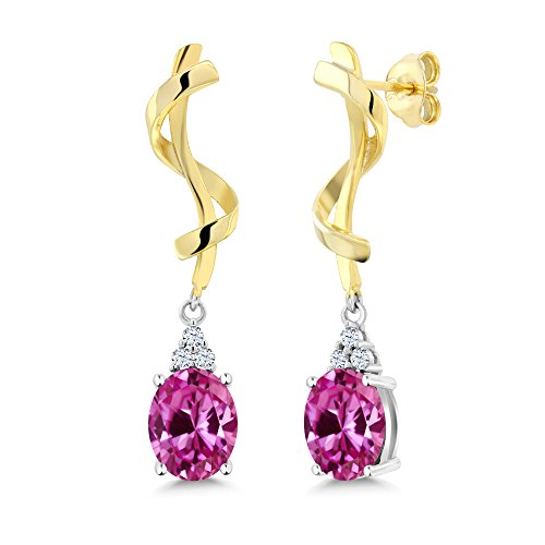 Oval Earrings Pink Sapphire (5.02 Ct Oval Pink Created Sapphire 925 Sterling Silver Earrings)