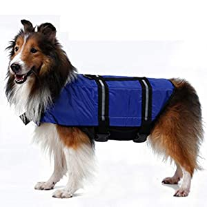 Pet Supplies Dog Life Jacket Summer Dog Costume Swimming Vest Dog's Clothes Blue XL Click on image for further info.