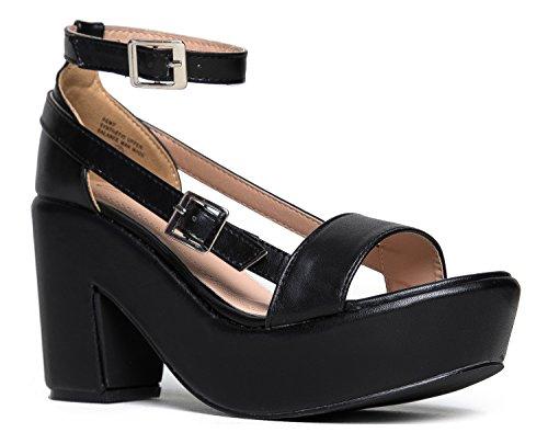 Chunky Platform Strappy Sandal - Ankle Strap Block Heel - Flatform Casual Shoe Remy by J. Adams,Black,9 B(M) - Casual Shoe Chunky Heel Platform