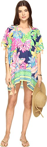 Lilly Pulitzer Women's Castilla Swim Cover-Up Tunic Resort Navy Travelers Palm Blouse by Lilly Pulitzer
