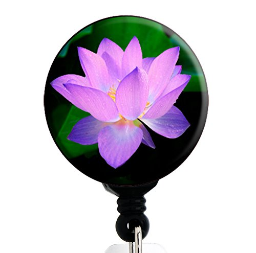 Lotus Flower - Retractable Badge Reel With Swivel Clip and Extra-Long 34 inch cord - Badge - Tag Lotus