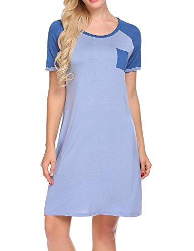 Knee Length Nightgown - Legros Cotton Nightgown Womens Short Sleeve Night Dress Contrast Color Loose Nightshirt Sleepwear, Cobalt Blue, S