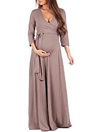 Women's Faux Wrap Maternity Dress with Adjustable Belt -...