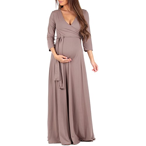 Mother Bee Women's Faux Wrap Maternity Dress With Adjustable Belt by