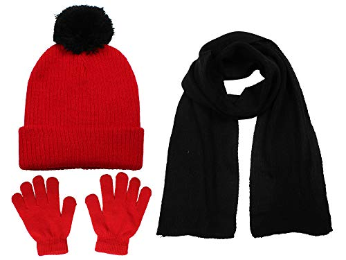 S.W.A.K Girls Knit Hat, Scarf And Gloves Set- Red/Black
