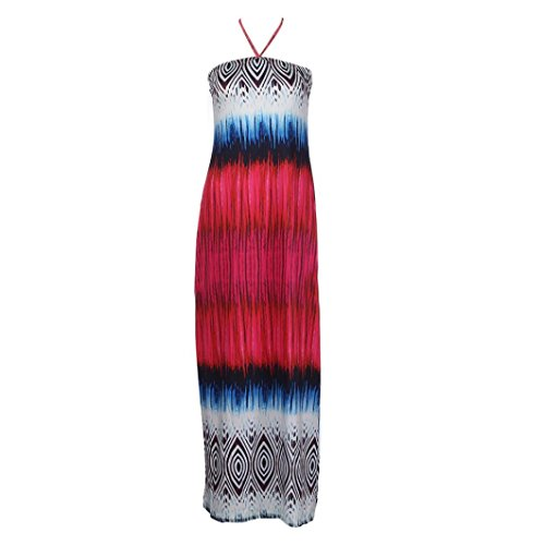 Amiley Summer Fashion Women Bohemia slim Dress Strapless Dot Loose Beach Printed Long Maxi Dress (M, Red)