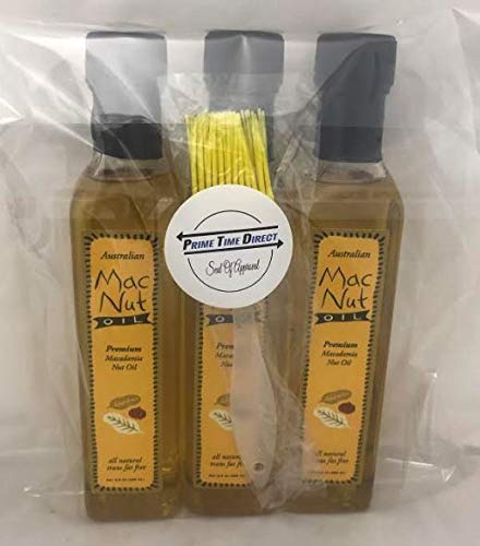 MacNut Oil Macadamia Nut Oil 8.5 oz (3 pack) with Silicone Basting Brush in a Prime Time Direct Sealed Bag