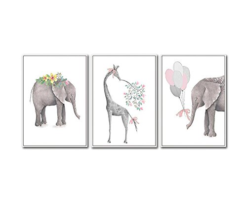 Modern Nordic Watercolor Abstract Cartoon Painting, Unframed 3 Panels Oil Animal Canvas Artwork Children's Room Modular Wall Prints(No Frame, 16x24inx3)