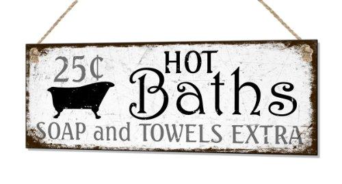 Beenanas Retro Bathroom Hot Baths Small Metal Shabby Sign Retro Plaque Vintage