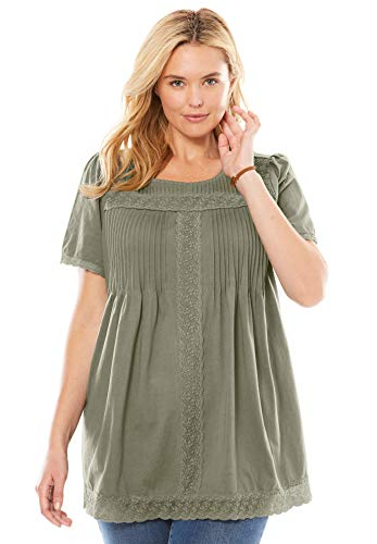 Woman Within Women's Plus Size Lace Trim Pintucked Tunic - Olive Grey, M
