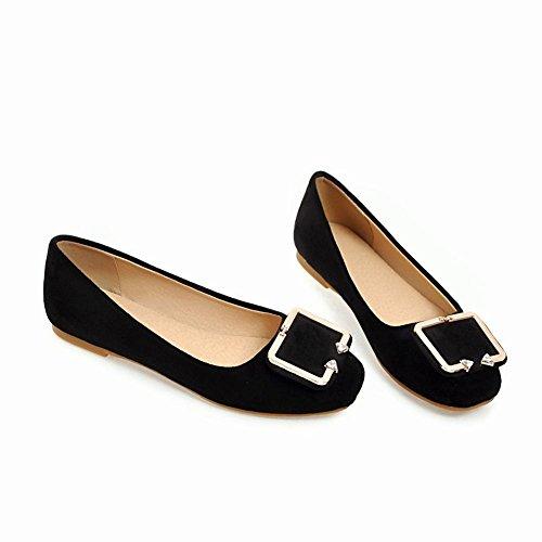 Mee Shoes Damen Flach Faux Wildleder Soft Pumps Schwarz
