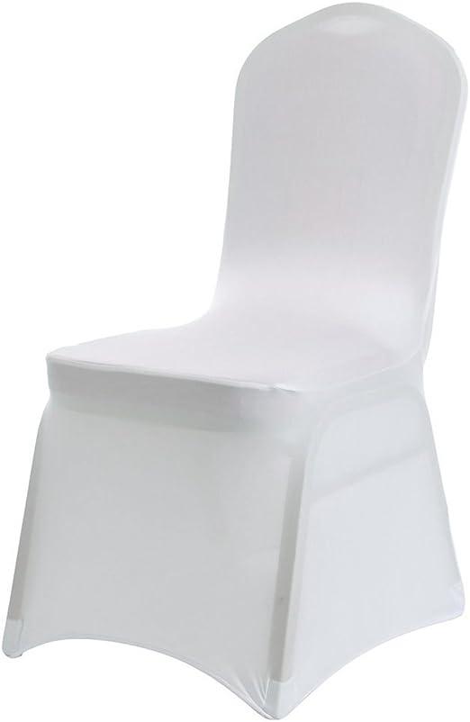 Blanc 10 pi/èce de Salle /à Manger Couverture Couleur Unie Polyester Spandex Blanc.Universelle Extensible pour de Mariage///à Domicile D/écoration en Forme darc Acelectronic/® Housse de Chaise