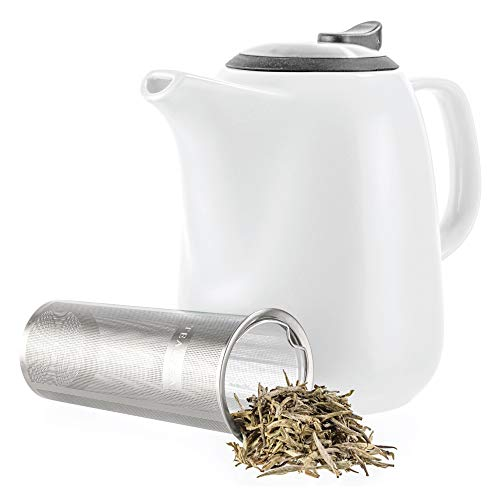 Tealyra - Daze Ceramic Large Teapot White - 47-ounce (6-7 cups) - With Stainless Steel Lid Extra-Fine Infuser for Loose Leaf Tea - - White Ceramic Large