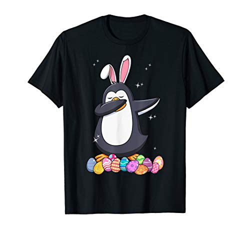 Dabbing Penguin Bunny Ears Easter Egg Funny Easter Tshirt Gi