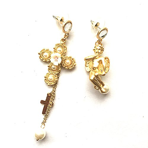 JG.Betty Vintage Royal Palace Crystal Catwalk Cross Earrings Nightclub Earrings Wild Show Earrings in Various (Angel Genstone Asymmetrical Pearl Earrings Women)