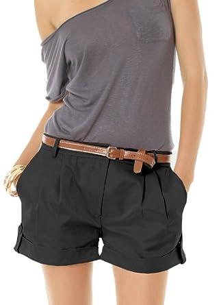 Damen Shorts Chino Bundfalten Damenshorts Gr.36 S kurze Hosen Damen in  schwarz 063bfdd751