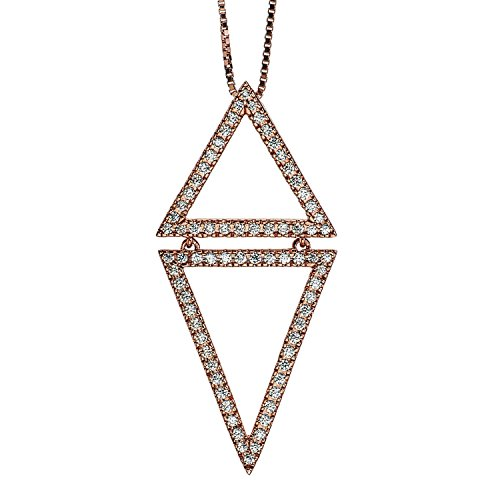 Diamond Triangle Necklace 1/4 ct tw Round-cut 10K Rose Gold